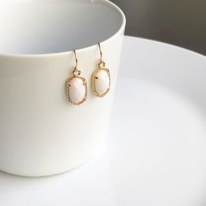 Jewelry - NEW Small Oval Earrings (gold + white)